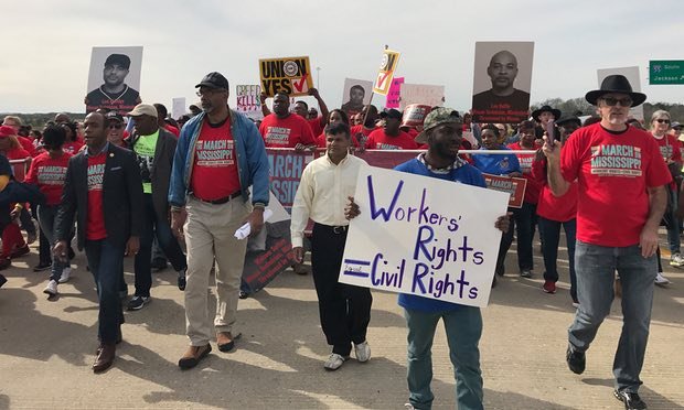 """Workers march duing the """"March on Mississippi"""""""