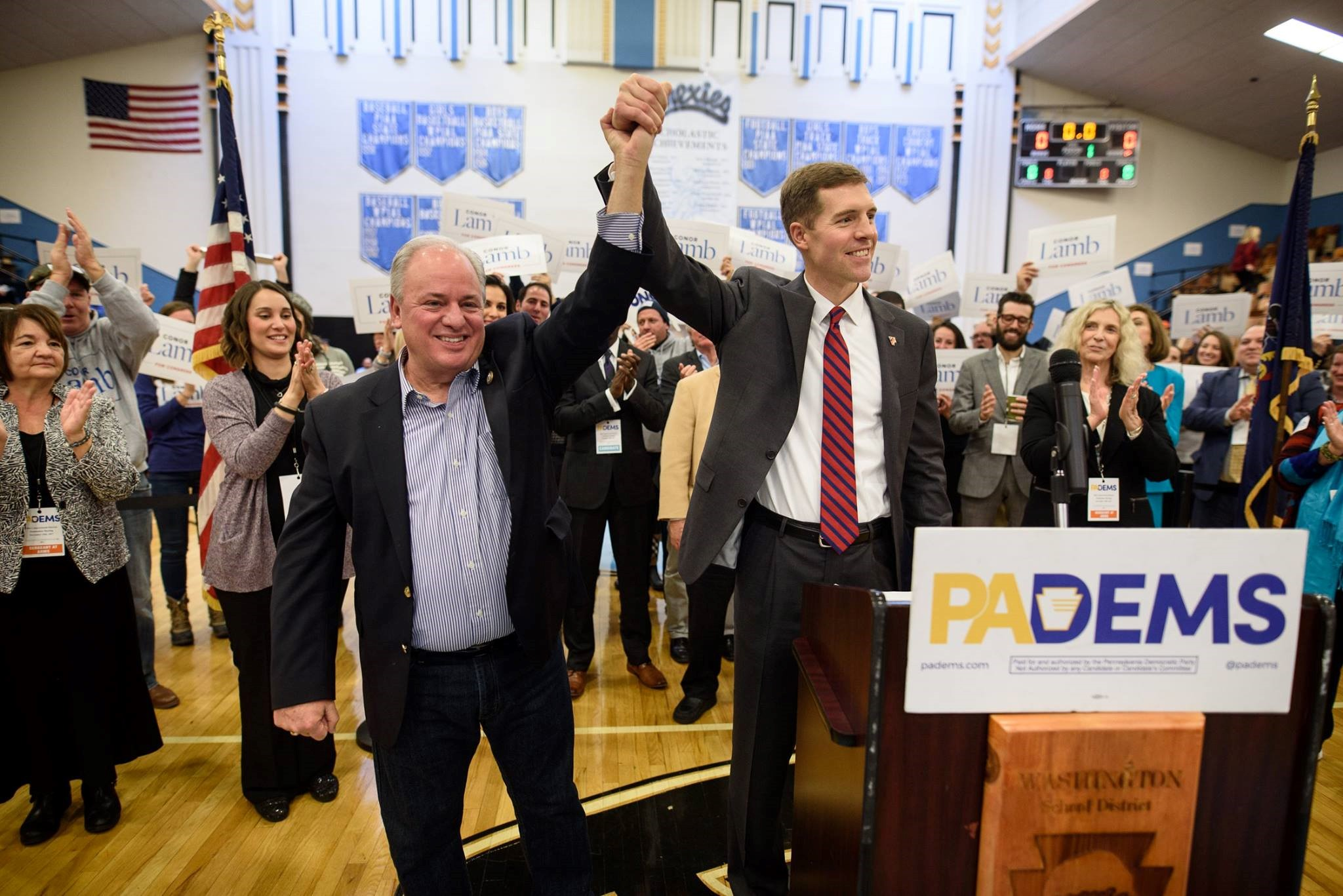Mike Doyle (D-Pittsburgh) presents the PA 18 Democratic nominee, Conor Lamb