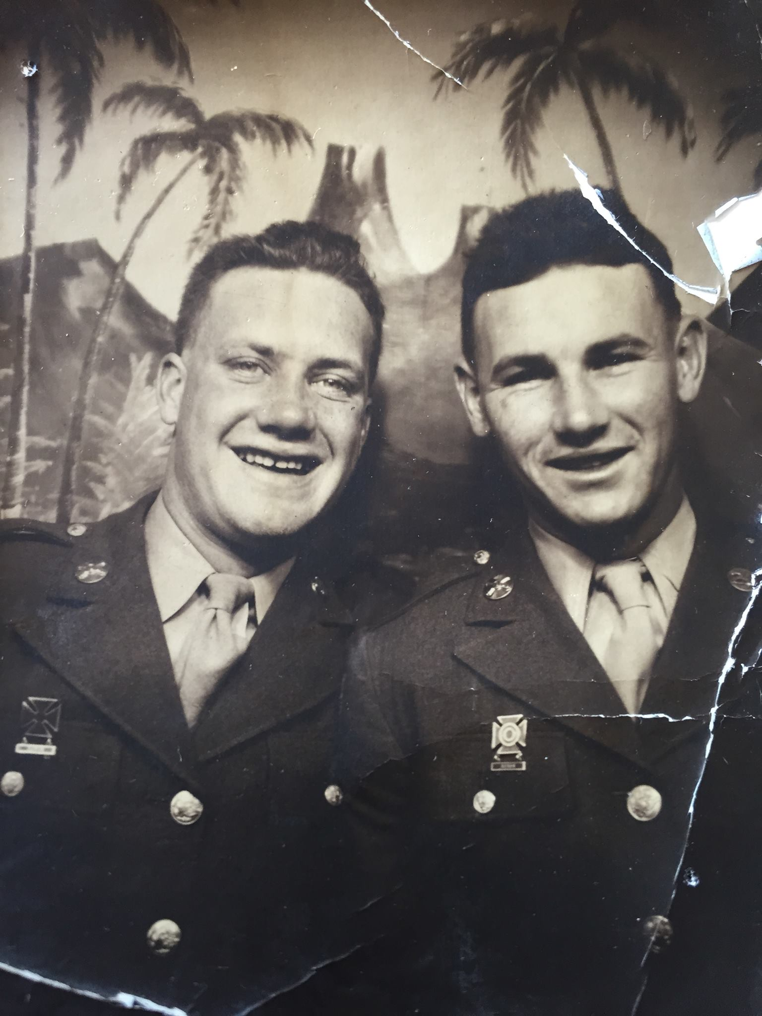 Regis Holden with a fellow servicemember during World War Two
